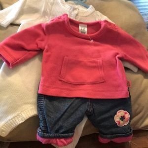 2 newborn outfits Baby Gap sweatshirt lined jeans